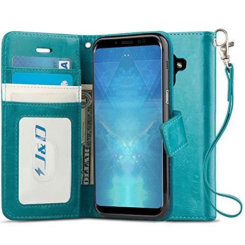 JundD Kompatibel für Galaxy A8 2018 Leder Hülle, [Handytasche mit Standfuß] [Slim Fit] Robust Stoßfest PU Leder Flip Handyhülle Tasche Hülle für Samsung Galaxy A8 2018 Hülle - Nicht für Galaxy A8+ 2018