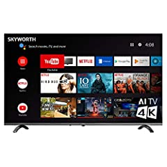 Android TV - Google assistant built in. Voice command and search remote control, Google Assistant built in, supports Alexa Echo, Google Home, Chromecast 4K Ultra HD perfect picture quality with stunning vivid colors, contrast and clarity The infinity...