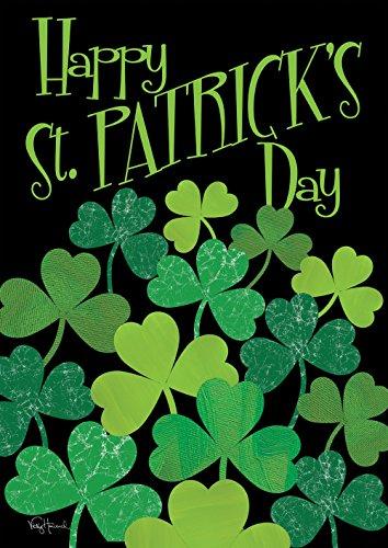 Toland Home Garden 109124 Shamrocks Decorative Happy St Patrick's Day Shamrock Clover ,Double Sided House Flag 28 x 40 Inch