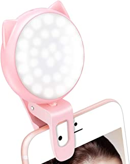 Selfie Light Ring for Cell Phone, Rechargeable Portable Clip-on Mini Phone Lights with 32 LED Bulbs, Battery Operated Light, 9-Level Adjustable Brightness for Laptop,Video, Camera, Tablet (Pink)