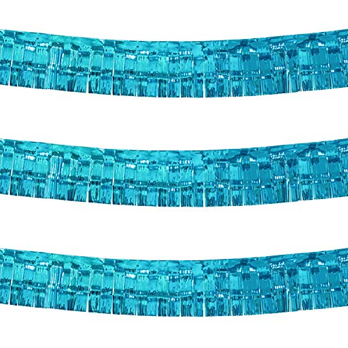 10 Feet by 15 Inch Turquoise Foil Fringe Garland - Pack of 3 | Shiny Metallic Tinsel Banner | Ideal for Parade Floats, Bridal Shower, Bachelorette, Wedding, Birthday, Christmas | Wall Hanging Drapes