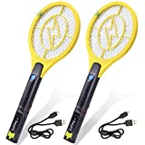 Tregini Mini Electric Fly Swatter 2 Pack – Rechargeable Bug Zapper Tennis Racket with Safe to Touch Mesh Net and Built-in Flashlight - Kills Insects, Gnats, Mosquitoes and Bugs