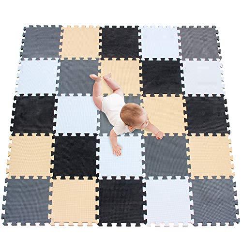 meiqicool Puzzlematte | Sanfte Baby-Bodenmatte | Kinderspielteppich Spielmatte Spielteppich Schaumstoffmatte Kinderteppich 142 x 142 cm Schutzmatte 25 Stück ADJL