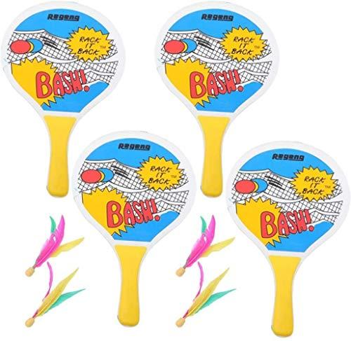 HLD Indoor Outdoor-Spielzeug Spaß und klassische Paddleball Spiel for Jungen und Mädchen, Party Favor Spielzeug ab 4 Jahren Paddle Ball Beach Games  Premium Set Of 4 Smash Rackets, 6 Bälle & Free Tenn