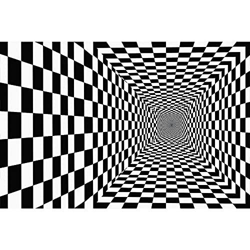 Alfombra De Visión Estéreo En Blanco Y Negro 3D Sala De Estar Rectangular Whirlpool Alfombrillas para El Hogar Lavables Impermeables Y Antideslizantes