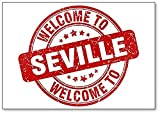 Imán para nevera con diseño de sello de la bienvenida a Sevilla, color rojo