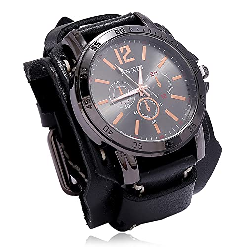 Shmtfa Atmosphere Relojes Vintage para Hombre Reloj De Pulsera De Cuarzo AnalóGico Cuero Cosido A Mano, No Impermeable Pulsera Ancha De Cuero para Accesorios De MuñEca con Personalidad(Negro)