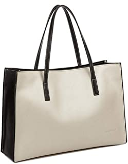 Fashion New Leather Black and White Leather Shoulder Portable Simple Handbag (Color : Brown)