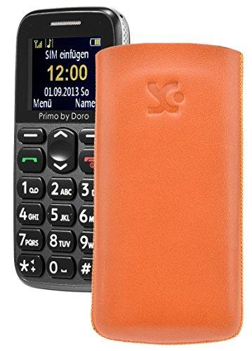 Primo 365 by Doro / Original Suncase Etui Tasche Leder Etui Handytasche Ledertasche Schutzhülle Hülle Hülle Lasche *mit Rückzugfunktion* orange