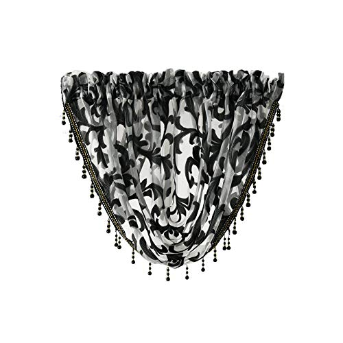 NAPEARL European Style Jacquard Sheer Curtain Organza Fabric Beaded Valance Window Treatment Decoration(1 Valance 57' Wx37 L, Black) …