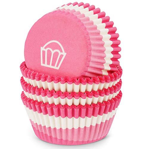MoNiRo Papier Muffin Förmchen - Cupcake Backform aus Papier Motiv Pink-White Cupcake - Muffin Form - Cupcake Form - Papierförmchen - Cupcake Förmchen - Muffinform - Backförmchen - Muffinformen
