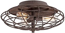 "Industrial Cage Dark Rust 7 12"" High Ceiling Light Fixture"