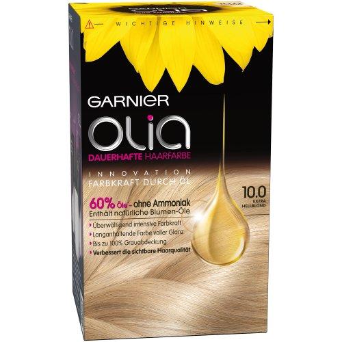 Garnier Olia 10.0 Extra Hellblond, Haarfarbe mit natürlichem Öl, Ohne Ammoniak für einen angenehmen Duft (3 Stück)
