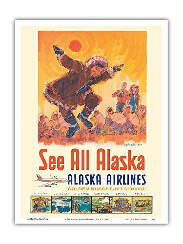 Voir tout Alaska - Alaska Airlines - Danse des esquimaux de Kotzebue - Affiche avion de Jess C. c.1960s - Impression d'art 23 x 31cm