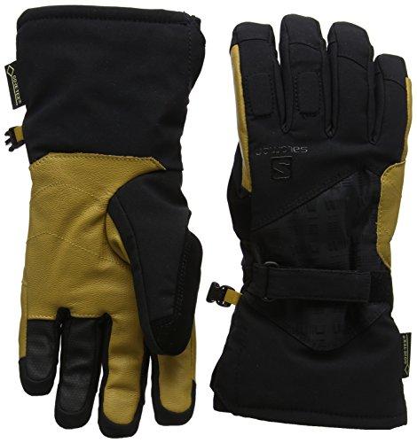Salomon, Herren wasserdichte Ski-Handschuhe, Touchscreen kompatibel, Gore-Tex-Membran, Leder-Innenhand, PROPELLER GTX M, Größe: XXL, Schwarz/Gelb (Black/Natural), L39497800