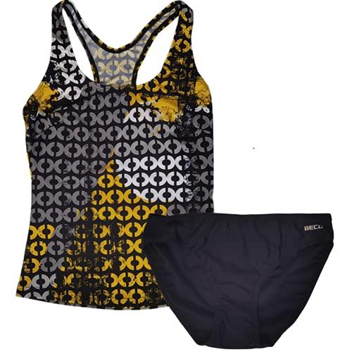 Beco Damen Tankini 2 teilige Badeanzug Zweiteilige Bikini-Sets Push Up Bademode Schwimmanzug Beachwear Tankini mit Rock mit integriertem Höschen Badebekleidung 36 38 40 42 44 46 48