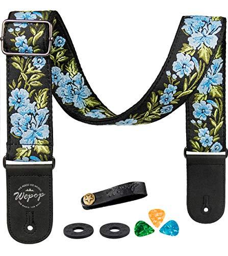 Gitarrengurt Blume Rose Vintage Gewebter Picks Lederenden für Akustik E-Gitarre Bass, Länge Anpassbar (blau)