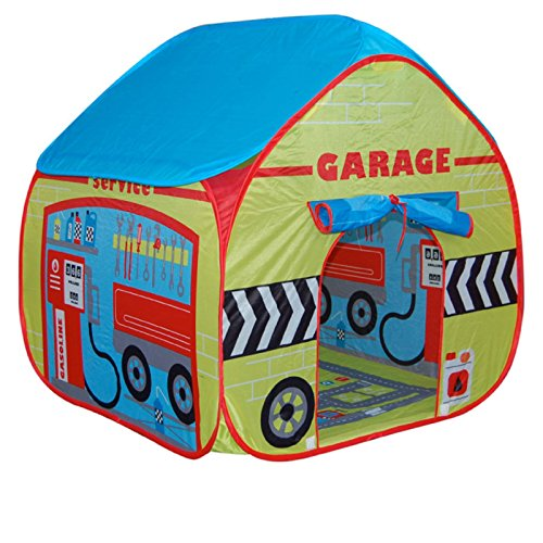 Childrens Pop Up Play Tent Designed like a Car Garage with a Unique Printed Play Floor : Boys Toy Play Tent / Playhouse / Den by Pop It Up