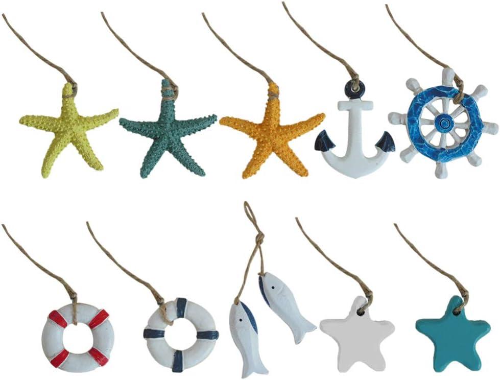 Amosfun 10 Pcs Wooden Nautical Decoration Mini Max 77% OFF Beach Cheap sale Hanging Orn