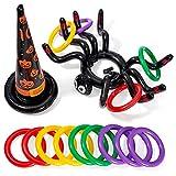 THE TWIDDLERS Juego De Lanzamiento De Anillos Inflables para Halloween de 14 Piezas con Araña Gigante y Sombrero de Bruja