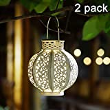 MAGGIFTAZB Lot de 2 lanternes solaires à Suspendre 01 2 Pack, White Retro White - 2 Pack