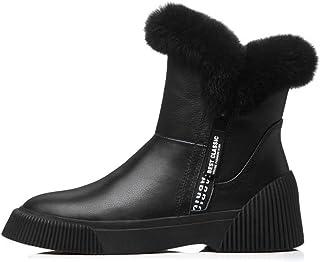 YAN Zapatos de Moda para Mujer Botines de Cuero de otoo e Invierno botas Martin botas Antideslizantes de Cordones elásticos botas de Batalla Altas