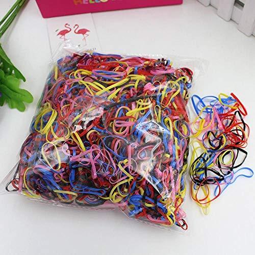 2000 pezzi di elastici monouso per capelli, senza fasce per capelli colorati biondi per ragazze Treccia per bambini, con scatola libera 0,78 pollici Multi-coloured_2000 pezzi