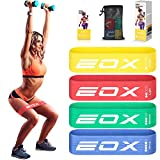 EOX Resistance Fabric Exercise Loop Bands, Non-Slip Resistance Exercise Workout Bands for Strength Training, Physical Therapy, Pilates, Legs and Glutes, 4 Resistance Levels Fabric Hip Training Bands