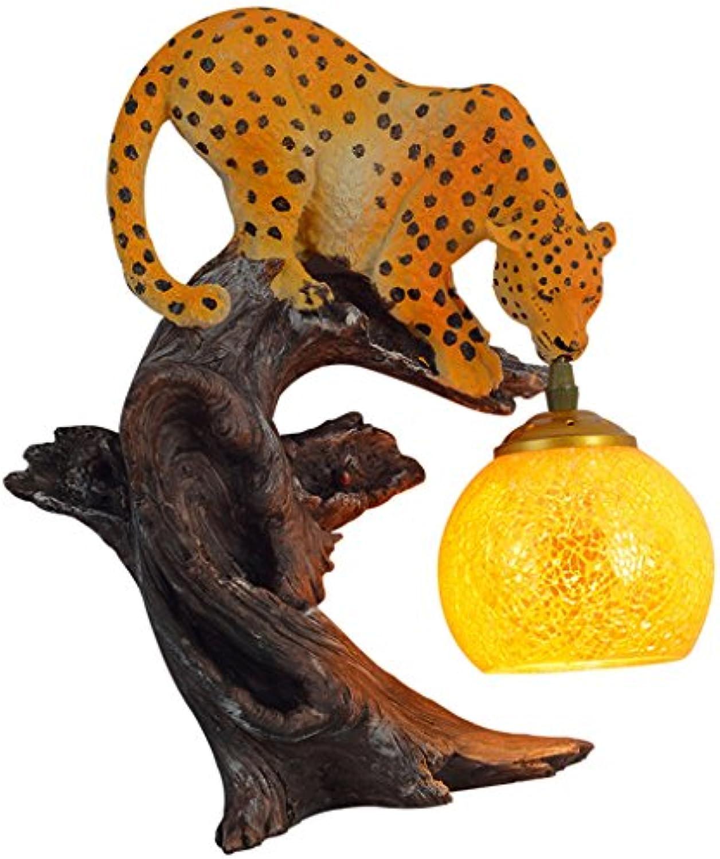 Wandleuchte WYQLZ American Retro Kreative Persnlichkeit Restaurant Bar Kunstharz Leopard Carving Dekoration Licht, Hochwertige dekorative Beleuchtung
