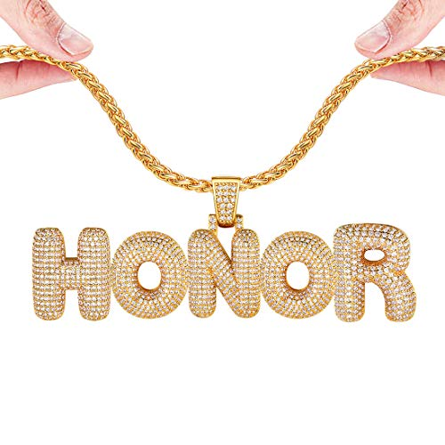 U7 DIY Iced Out Bubble Letter Necklace Men Women Personalized Hip Hop Jewelry 18K Gold Plated Customizable 1-6 Pcs Bling CZ Initials Pendant, Tennis Chain or Spiga Chain 18-30 Inch, with Gift Box