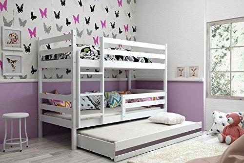 Interbeds Etagenbett Eryk 3 (für DREI Kinder) 160x80cm Farbe: WEIß; mit Lattenroste und Matratzen (weiß + graue Schublade)