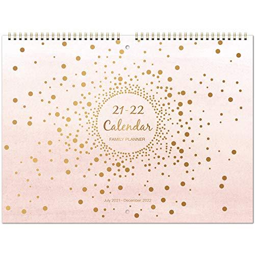 Eono by Amazon - Calendario da parete 2021-2022, calendario dell'agenda di 18 mesi da luglio 2021 a dicembre 2022, agenda mensile della scuola familiare da luglio 2021 a dicembre 2022, 37,3 cm x 29 cm