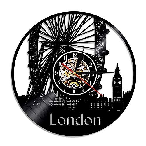 Enofvd Londres Disco de Vinilo Reloj de Pared decoración del hogar Reloj Retro Ciudad Negro Colgante de Pared Mesa decoración de la habitación Regalo 12 Pulgadas