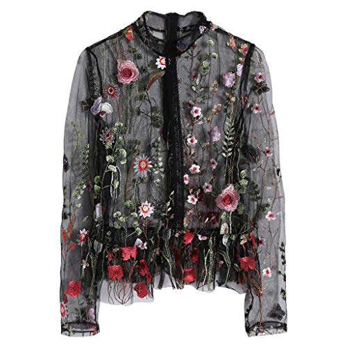 GUMEI Ethnic Black Flower Stickerei Hippie Frauen Transparente Langarm Shirt Top...