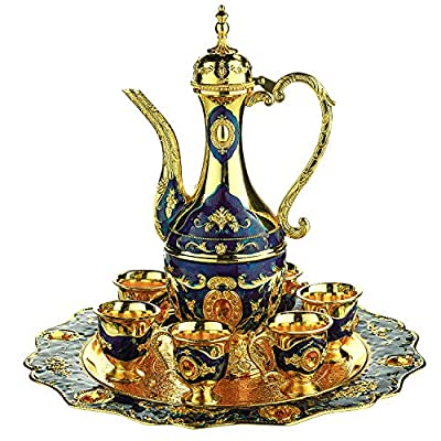 Vintage Turkish Coffee Pot Set for 6 including Tray & Teapot Silver Inserted with Swarovski Style Crystals (Blue)