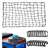 ECWKVN 3'x4' Duty Cargo Net, Latex Bungee Net Stretches to 6'x8' for Rooftop Cargo Rack, Pickup Bed, Trailer, Trunk, SUV with 10 D Clip Carabiners+10 Hooks, 3'x3' Mesh Holds Small Large Loads Tighter
