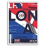 2 x 10 cm Aeropuerto Heathrow de Londres pegatinas de vinilo - Etiqueta de equipaje portátil # 17736 (10 cm de altura)