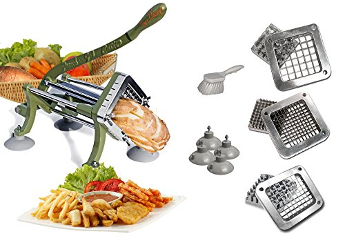 Tiger Chef Heavy Duty Potato French Fry Cutter Commercial Quality - Complete Set Includes 1/4, 3/8, And 1/2-Inch Blades and...
