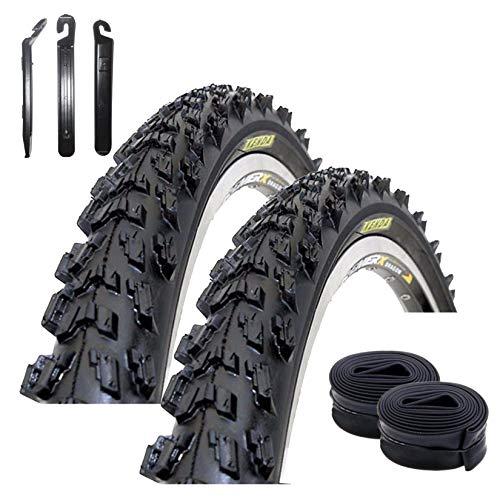 maxxi4you Kenda K-829 - Cubiertas para bicicleta de montaña (2 unidades, 26 x 1,95 cm, incluye 3 desmontadores), color negro