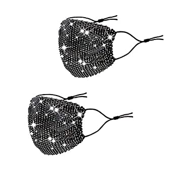 LOVINSHOW Sparkly Rhinestone Mesh Mask CrystalMasquerade Mask Jewelry for Women Girls  2Pcs Black