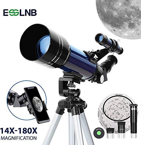 ESSLNB Telescopio Astronomico 36070 Astronómico para Niños Principiantes con Adaptador de Teléfono Ajustable Trípode 3X Barlow Lente Filtro de Luna para Principiantes