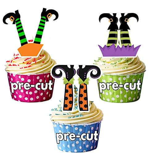 PRE-Cut Halloween Heksen Benen Eetbare Cupcake Toppers/Cake Decoraties (Pak van 12)