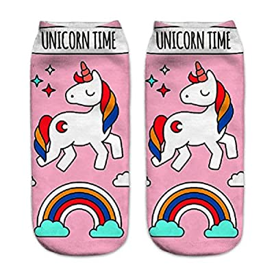Naisidier - Calcetines para mujer, diseño 3D, estampado de fantasía, calcetines para mujer, protectores de pies, unicornios Aimable Chic