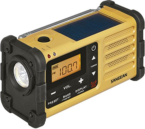 Sangean MMR-88 Tragbares Kurbelradio, Notfall radio mit Taschenlampe und Notfall-Signalton - UKW/MW-Tuner - Gelb/Schwarz