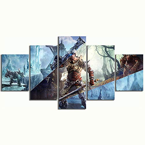 ADGUH 5BilderLeinwanLeinwand Malerei Dekoration Bild 5 Panel RPG Spiel Elex Gedruckt Poster Für Wohnzimmer Wandkunstwerk5 Drucke auf Leinwand