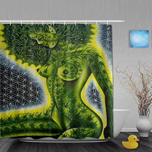 PatrickOgden Cortina de Baño,Hoja de Marihuana Verde de Mujeres afroamericanas,Cortinas de Ducha con 12 Ganchos de plástico 180 * 180cm