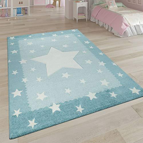 Paco Home Teppich Kinderzimmer Blau Pastellfarben Weich 3-D Stern Design Bordüre Kurzflor, Grösse:140x200 cm