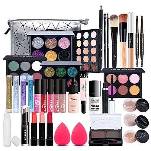 FantasyDay 33 Piezas Juego de Maquillaje All in One Makeup Gift Set Incluye Corrector Camuflaje, Brillo Labios, Brochas, Lip Balm, Sombra De Ojos - Belleza Cosmético de Caja pour Cara y Labio Make-up