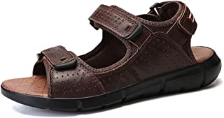 Shoes Comfortable Summer Vegan Beach Sandals for Men Genuine Leather Comfortable Breathable Waterproof Anti-Slip Flat Round Open Toe Hook&Loop Strap Fashion (Color : Darkbrown, Size : 9 UK)