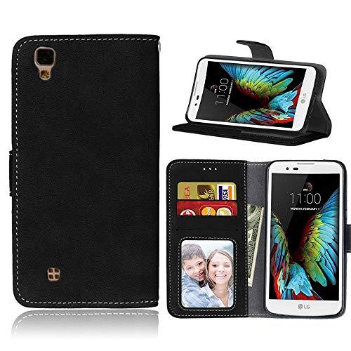 Sangrl Libro Funda para LG X Power / K220 / LS755, PU Cuero Cover Flip Soporte Case [Función de Soporte] [Tarjeta Ranuras] Cuero Sintética Wallet Flip Case Negro